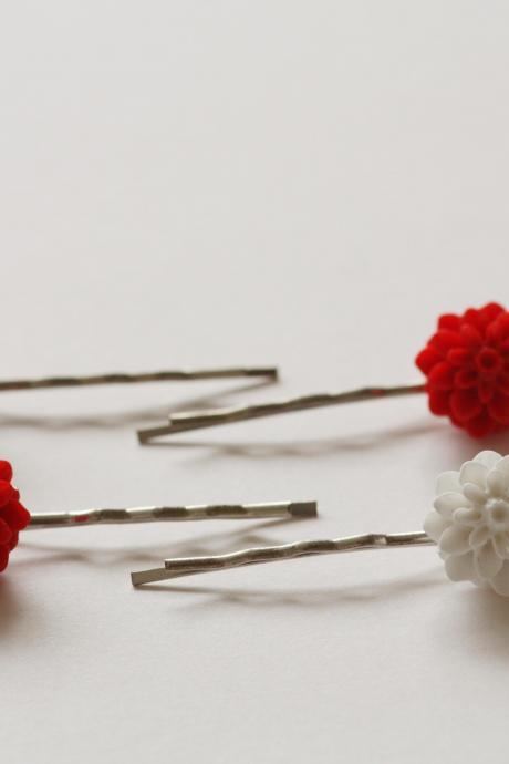 Red and white chrysanthemum bobby pins set of four hair grips.