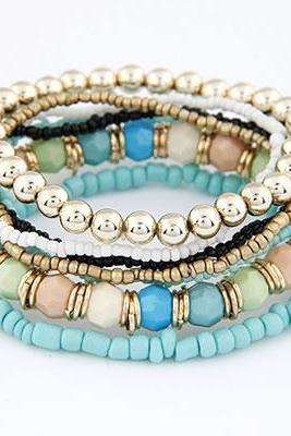 MIX COLOR BEADS MULTILAYERD BRACELET BLUE TONE