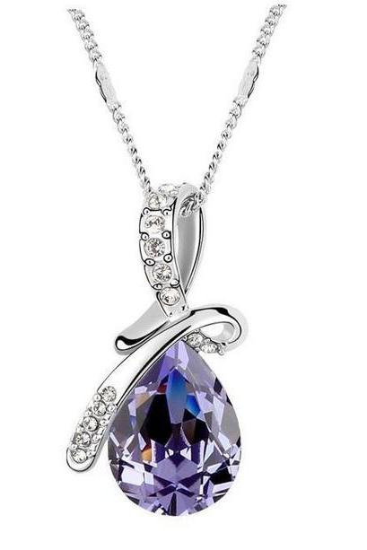 Fashion And Beautiful Austrian Jewelry Crystal Necklace - Purple