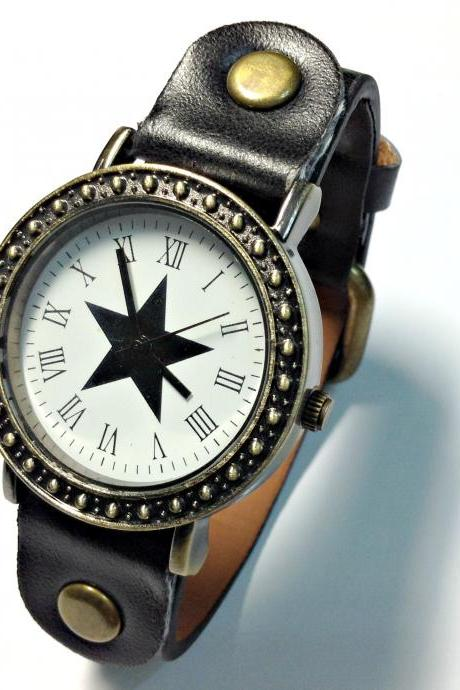 Vintage Star Face Leather Band Watches Woman Girl Quartz Wrist Watch Black