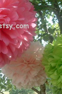 7 Tissue paper pom poms. Party decoration.