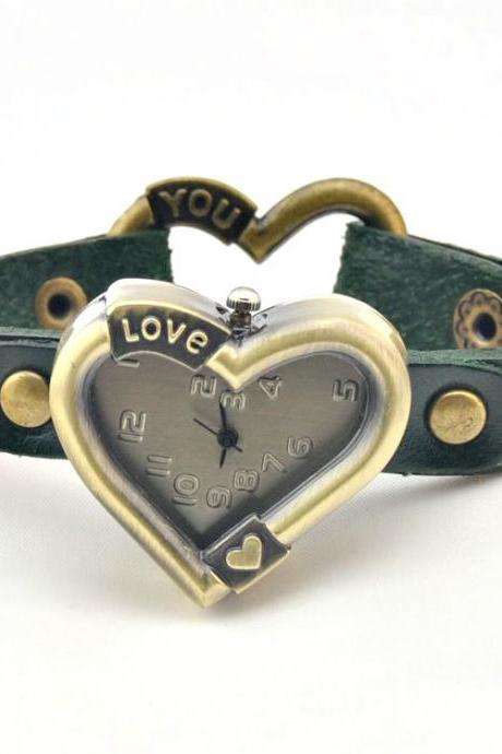 Handmade Vintage Leather Band Love Heart Classical Face Watches Woman Girl Lady Quartz Wrist Watch Dark Green