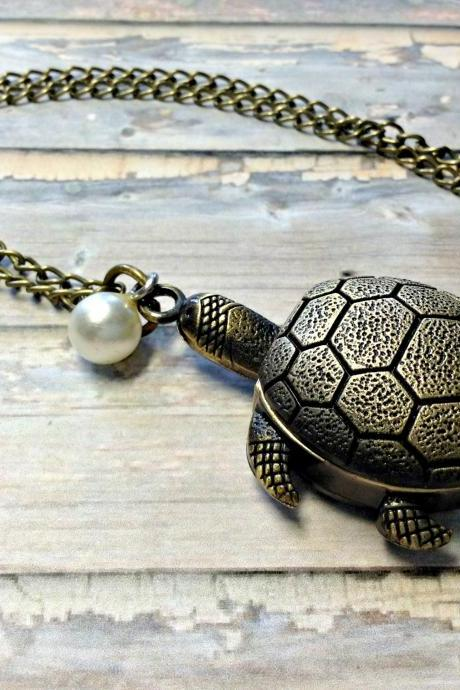 Handmade Vintage Turtle Pocket Watch Necklace With Pearl Pendant