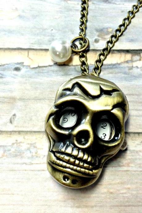 Handmade Vintage Skull Pocket Watch Necklace With Pearl Pendant