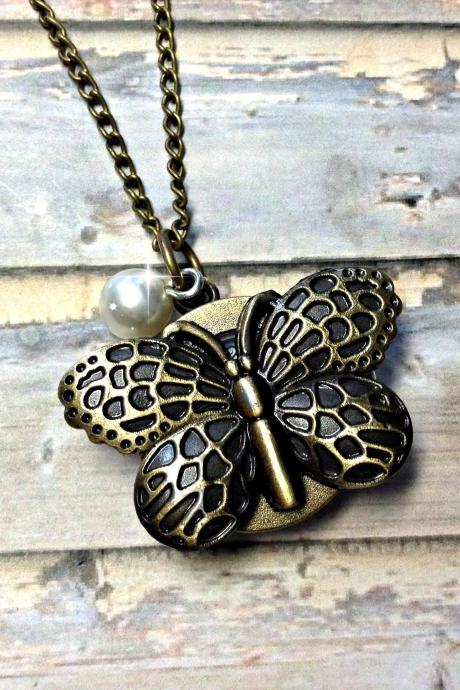 Handmade Vintage Butterfly Pocket Watch Necklace With Pearl Pendant