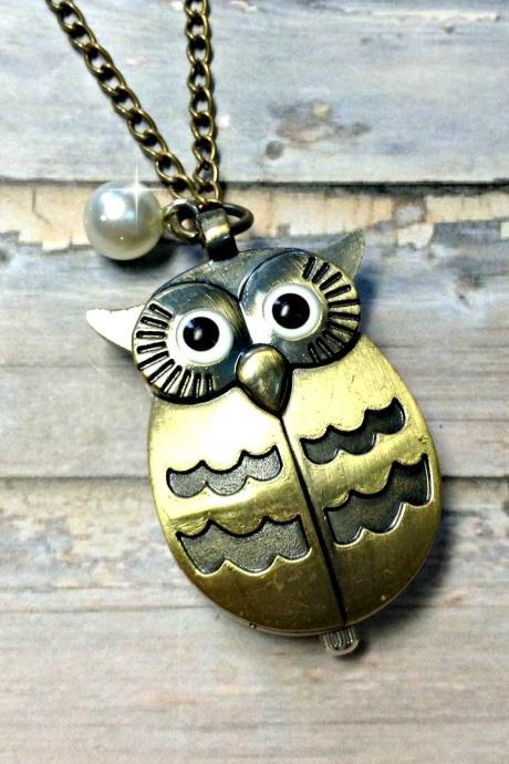 Handmade Vintage Owl Pocket Watch Necklace With Pearl Pendant