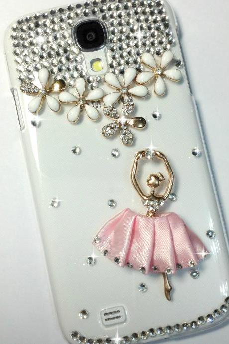 3D Handmade Pink Ballet Dancing Girl Design Case Cover For Samsung Galaxy S 4 S4 IV LTE i9500 i9505