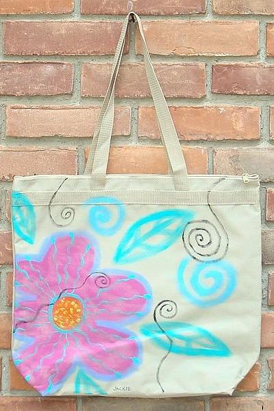 Hand Painted Tote Bag Funky Abstract Flowers