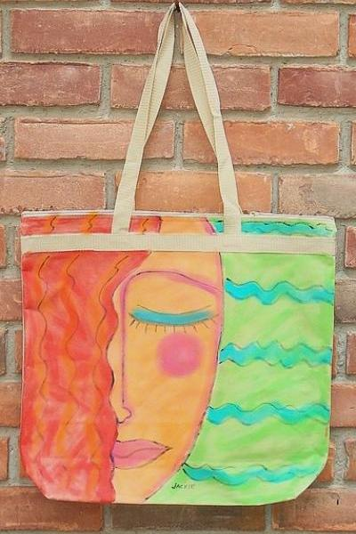 Hand Painted Tote Bag Abstract Portrait of a Red Haired Woman
