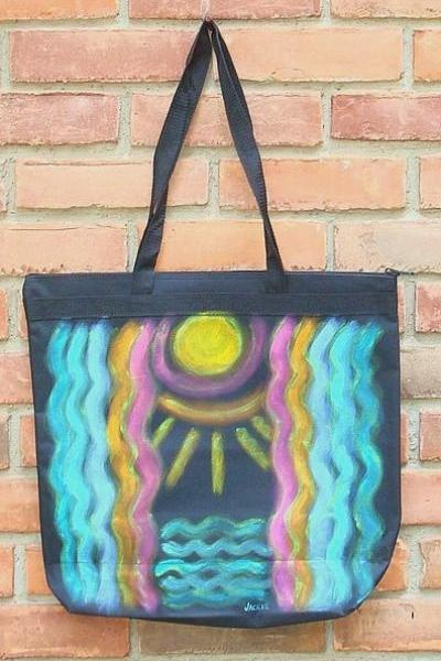 Hand Painted Abstract Art Tote Bag