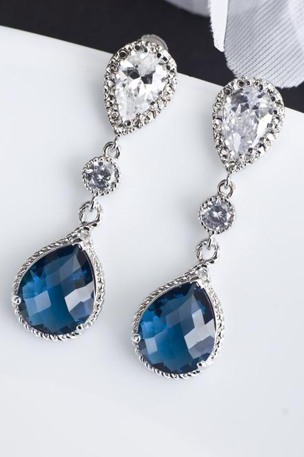 Sapphire Earrings, Blue Sapphire Bridal Earrings, Cubic Zirconia Ear Posts, Cubic Zirconia Connectors and Blue Sapphire Teardrops