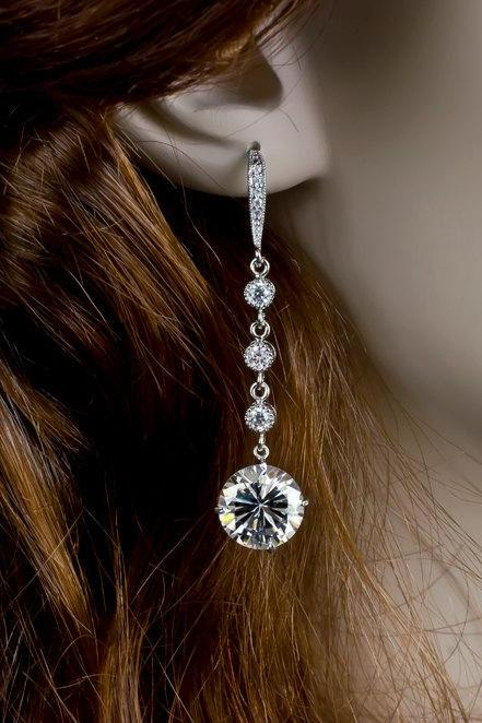 Bridal Earrings, Long Dangle Cubic Zirconia Bridal Earrings, Cubic Zirconia Connectors and Large Cubic Zirconia Crystal Round Drops