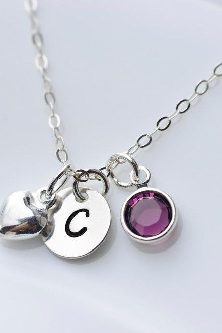 Birthstone Initial Necklace - Swarovski Birthstone, Sterling Silver Tiny Heart Charm and Round Initial Disc
