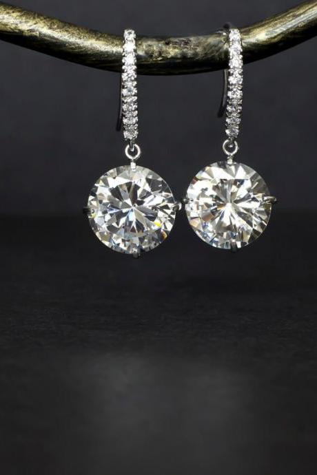 Bridal Earrings, Bridal Jewelry, Bridesmaid Earrings, Cubic Zirconia Earrings, White Cubic Zirconia Round Drops and Cubic Zirconia Earwires