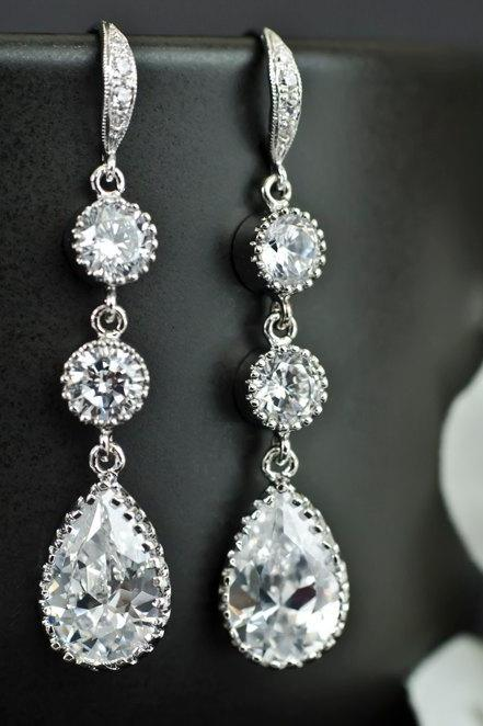 Bridal Earrings Cubic Zirconia Ear Wires, Cubic Zirconia Connectors and Large Cubic Zirconia Crystal Tear Drops