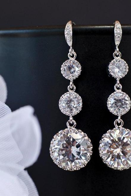 Bridal Earrings Cubic Zirconia Ear Wires, Cubic Zirconia Connectors and Large Cubic Zirconia Crystal Round Drops