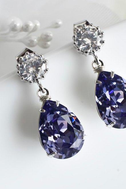 Purple, Tanzanite Swarovski Earrings, Bridesmaids Earrings, Tanzanite Swarovski Teardrops and Cubic Zirconia Stud Earrings