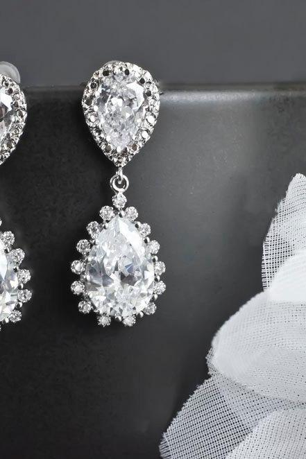 Bridal Earrings, Bridesmaid Earrings, Rhodium Plated Cubic Zirconia Ear Posts and Large Cubic Zirconia Teardrops Bridal Earrings