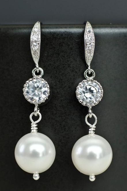 Bridal Earrings Cubic Zirconia Earwires, Cubic Zirconia Connectors and White Swarovski Pearls, Cubic Zirconia Silver Wedding Jewelry
