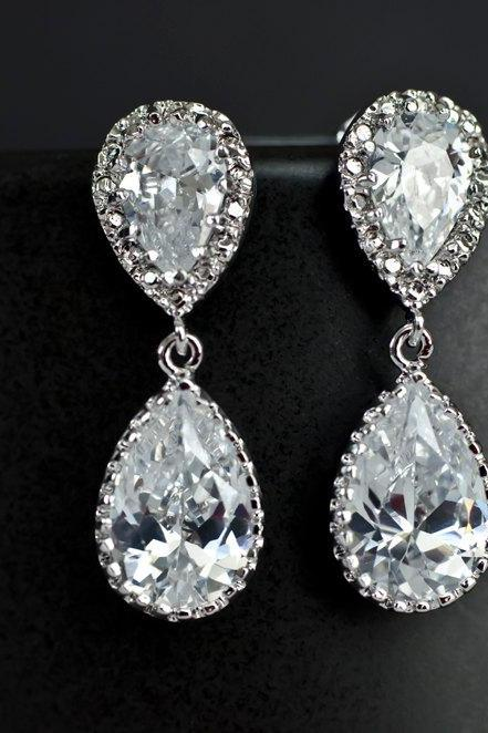 Bridal Earrings Bridesmaid Earrings Rhodium Plated Cubic Zirconia Ear Posts and Large Cubic Zirconia Teardrops