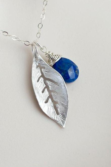 Blue Lapis Lazuli Necklace, Blue Lapis Lazuli and Rhodium Plated Leaf Necklace, Bridesmaids Necklace