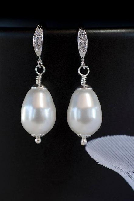 Bridal Pearl Earrings, White/Ivory Pear Shape Swarovski Single Pearl Earrings, Pearl Wedding Earrings, Wedding Pearl Jewelry