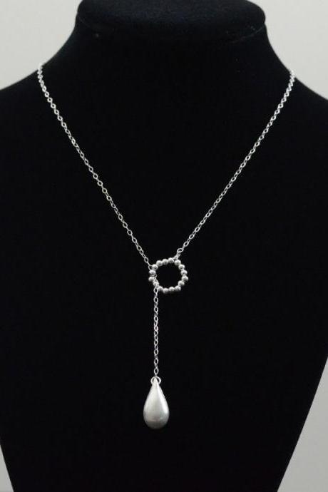 Silver Teardrop Lariat Style Necklace - Brushed Sterling Silver Briolette