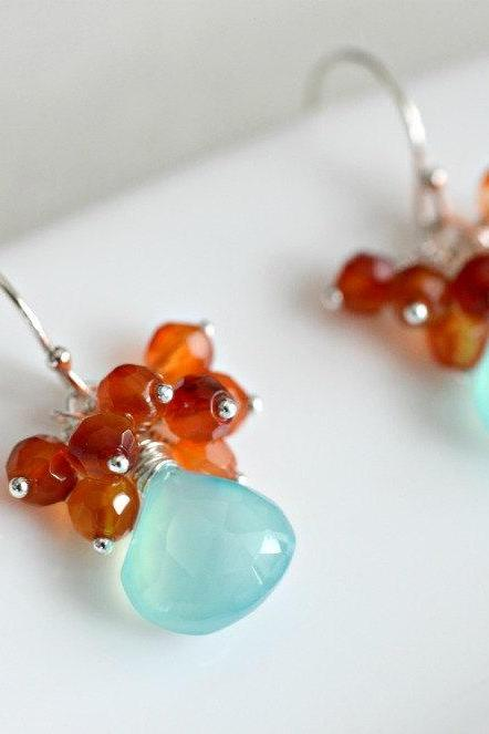 Cluster Earrings - Handmade Aqua Blue Chalcedony and Carnelian Cluster Earrings in Sterling Silver