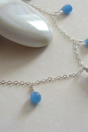 Blue Chalcedony Necklace, Blue Periwinkle Chalcedony and Aventurine Necklace in Sterling Silver. Something Blue Necklace