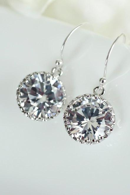 Bridal Earrings, Round Drop CZ Bridal Earrings