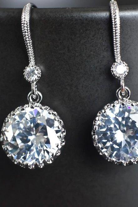 Bridal Earrings, Rhodium Plated Cubic Zirconia Earvires and Large Cubic Zirconia Round Drops Bridal Earrings
