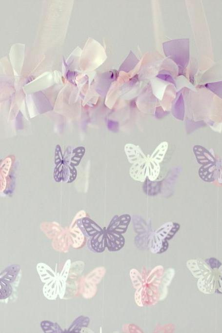 Pink, Lavender & White Small Butterfly Mobile