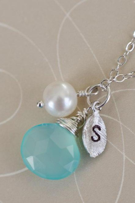 Initial Necklace, Silver Leaf Initial, Aqua Blue Chalcedony, Freshwater Pearl, Birthday Gift, Bridesmaid Personalized Necklace