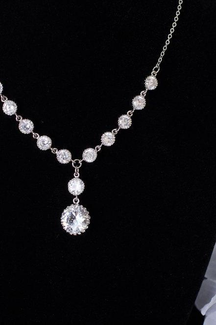 Wedding Bridal Jewelry Bridal Necklace, Cubic Zirconia Bridal Necklace, CZ Round Connectors and Large CZ Round Drop