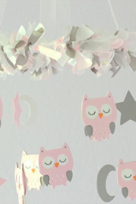 Owl Nursery Mobile in Baby Pink, Gray & White