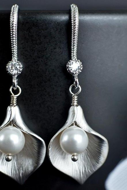 Calla Lily Flower and Swarovski Pearl Sterling Silver Earrings