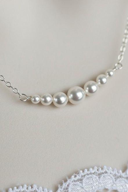 Bridal Pearl Necklace, Swarovski Pearls Necklace, Sterling Silver, Wedding Jewelry
