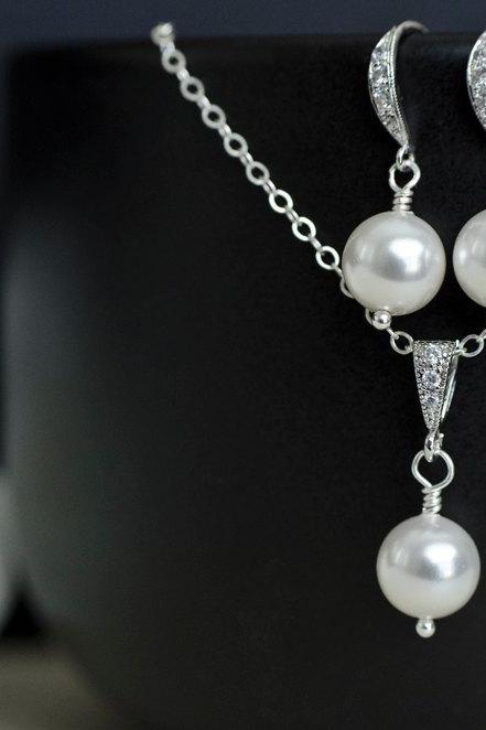 Bridal Pearl Earrings and Necklace in Sterling Silver, White/Ivory Swarovski Single Pearl Earrings and Pendant, Pearl Jewelry Set