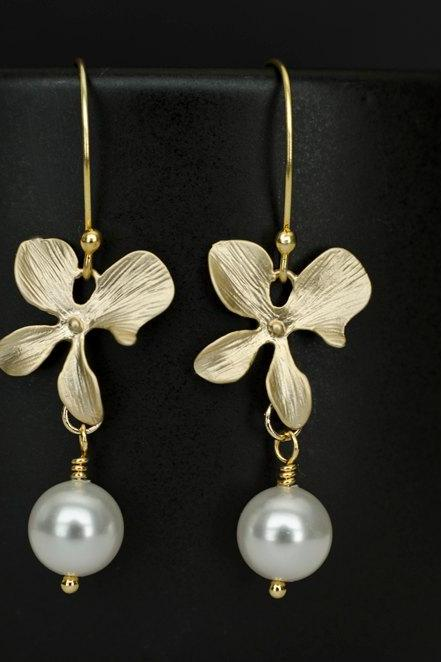 Gold Orchid and White Swarovski Pearl Earrings