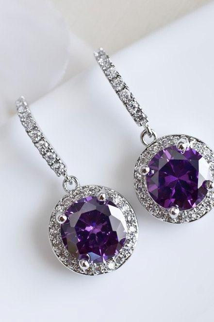 Purple Earrings, Cubic Zirconia Amethyst Earrings, Bridesmaids Earrings, Purple Round Drop Cubic Zirconia Earrings