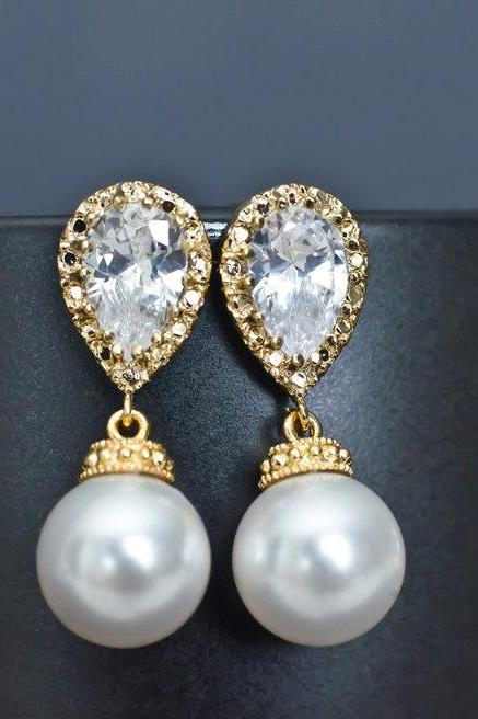 Bridal Earrings, Gold Plated Bridal Pearl Earrings, Swarovski White/Ivory Pearls and Cubic Zirconia Gold Plated Stud Earrings