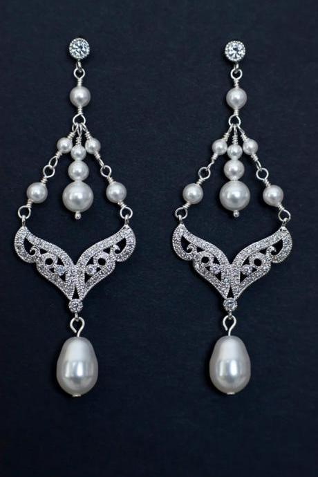 Chandelier Bridal Wedding Earrings, Pearl Drop Chandelier Bridal Earrings, Vintage Style Bridal Wedding Jewelry