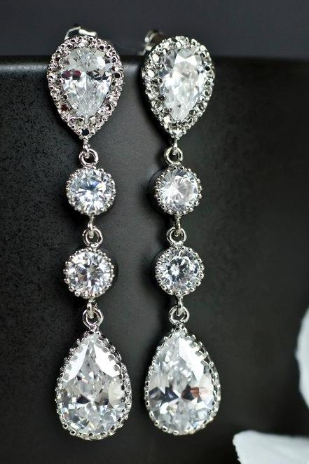 Bridal Earrings Cubic Zirconia Ear Posts, Cubic Zirconia Connectors and Large Cubic Zirconia Crystal Tear Drops