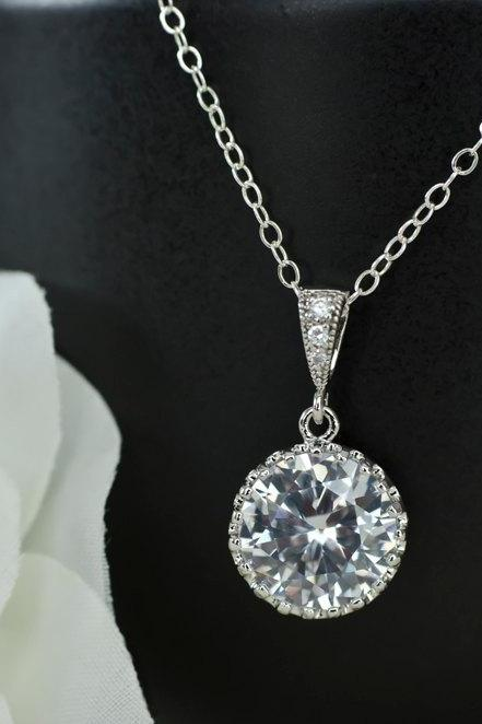 Bridal Necklace - Round Drop CZ Bridal Pendant on Sterling Silver Chain