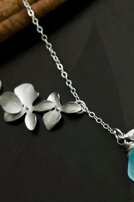 Trio Orchid and Aqua Blue Chalcedony Necklace - Monogram Initial Necklace in Sterling Silver, Bridesmaid Gifts, Wedding Jewelry