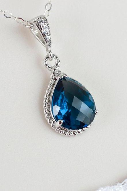 Blue Sapphire Necklace, Blue Sapphire Bridesmaids Necklace, Blue Sapphire Teardrop Glass and Cubic Zirconia Necklace