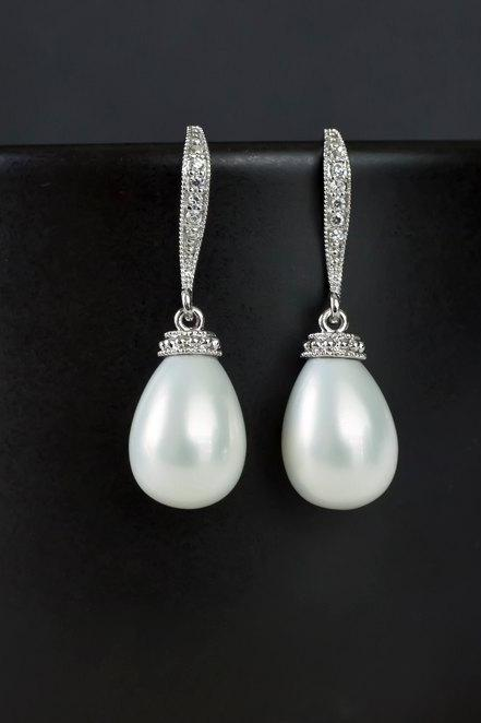 Bridal Earrings, Bridal Pearl Earrings, White Shell Based Tear Drop Pearl on Cubic Zirconia Earwires, Wedding Jewelry