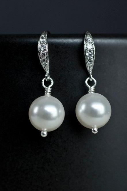 Bridal Pearl Earrings ,White/Ivory Swarovski Single Pearl Earrings, Pearl Wedding Earrings, Small Pearl Earrings, Pearl Jewelry