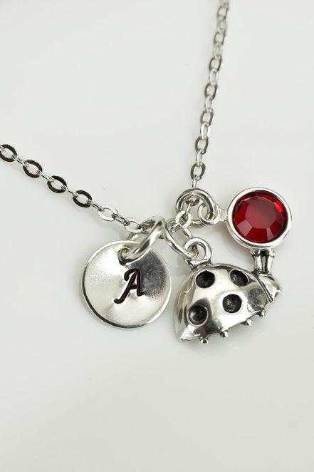 Birthstone Initial Necklace, Ladybug Initial Necklace, Swarovski Birthstone, Silver Ladybug and Round Initial Disc, Little Girl Necklace