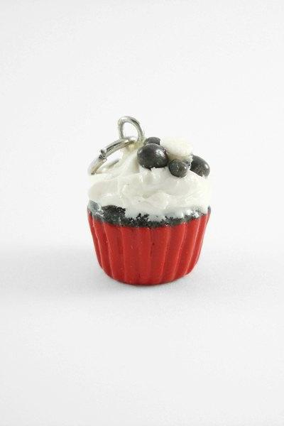 Miniature Cupcake Charm Red Black and White Daisy Cupcake